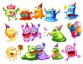 Illustration of many monster having a party