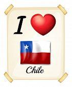 Illustration of I love Chile sign
