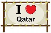 Illustration of I love Qatar sign
