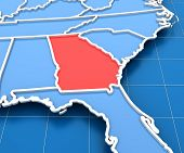 3d render of USA map with Georgia state highlighted