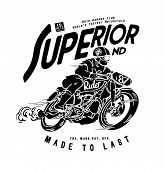 old motorcycle racer illustration