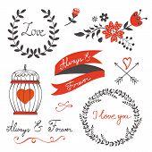 Beautiful love set. Vector illustration