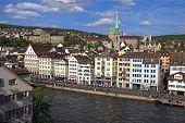 Limmat River And Historic Building In Zurich, Switzerland