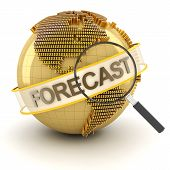 Global financial forecast symbol with globe, 3d render