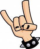 Signo de la mano de cuernos de diablo de heavy metal