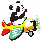 cartoon panda flying with plane