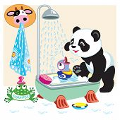 cartoon panda in the bathroom