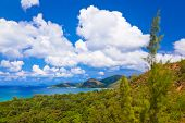 Landscape of island Praslin Seychelles - vacation background