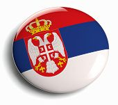 pic of serbia  - Serbia flag design round badge isolated on white - JPG