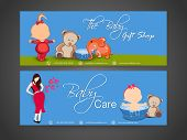 Baby care headers with images of colorful toys, young lady and shop name and contact details.
