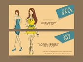 Super sale header with details and images of young girls wearing stylish short dresses.