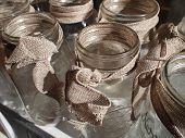 Mason Jars With Burlap Bows