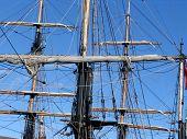stock photo of yardarm  - Set of masts on old tallships - JPG