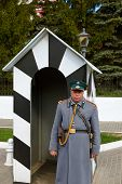 KOLOMNA, RUSSIA - MAY 03, 2014: Guard in the form of the 19th century policeman in the Kolomna Kremlin - Russia - Moscow region.