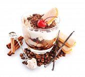 Tasty tiramisu dessert in glass, isolated on white