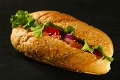 Sandwich with salmon on dark wooden background