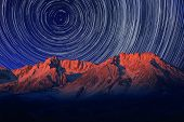Vortex Night Exposure Star Trails of the Sky in Bishop California