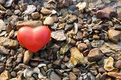 Red Shape Heart  On Rock Background