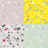 set of 4 Seamless pattern of triangles. Vector