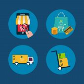 Icons of e-commerce symbols and internet shopping elements