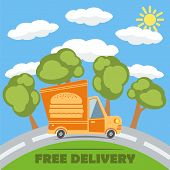Free Delivery Van Truck With Hamburger Vinyl Logo. Vector.
