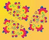 Three rainbow  patterns  in the  Khokhloma  style