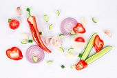 fresh sliced vegetables