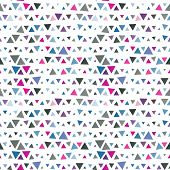 Seamless pattern of triangles, pink and blue on white background. Vector