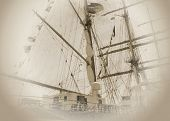 Sail ship with cinema effect.