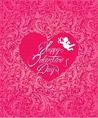 Holiday Card With Pink Ornamental Floral Background - Heart With Calligraphic Text Happy Valentine`s