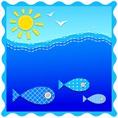 illustration of sea and sun