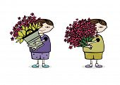 boy with a huge bouquet of flowers. eps8
