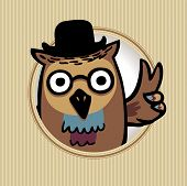 intelligent owl in a hat. Peace symbol, hand sign. eps8