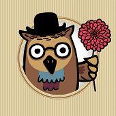 intelligent owl with flower. Retro style. eps8