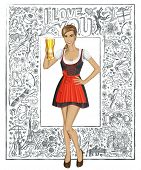 Love concept. Vector cute woman in drindl on oktoberfest with beer mug against love story elements background