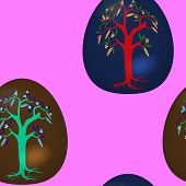Seamless pattern with decorated Easter eggs