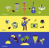 image of carnival brazil  - Brazil banner set with carnival and tourism symbols isolated vector illustration - JPG