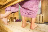 Couple in a hot sauna