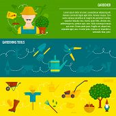 Vegetable garden horizontal banners flat