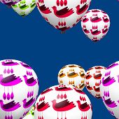 Colorful decorative birds on party balloons seamless pattern