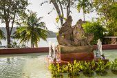 Statue On Island Of Phuket, Thailand. Thai Style Statues Acting Wai (or Sawasdee)