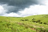 Beautiful Mountains of Nyika Plateau under Stormy Clouds, Malawi, Africa