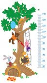 stock photo of rabbit hole  - Meter wall or height meter with big tree and funny rabbit - JPG