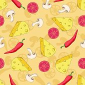 Pizza ingredients seamless pattern on coloured background