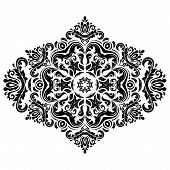 Damask Vector Pattern. Orient Ornament. Black and White Colors