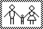 Pixel family set. Vector illustration