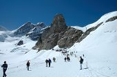 Trail On Jungfaujoch Pass In Switzerland.