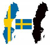 Sweden map and flag vector
