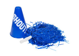 stock photo of pom poms  - Pom pom and megaphone used for cheering on the team of choice  - JPG