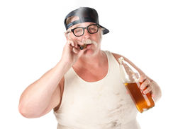 foto of wife-beater  - Fat man with smoking a cigar and holding a 40 oz beer - JPG